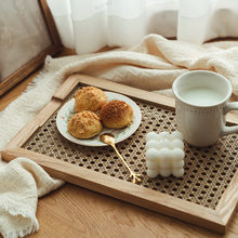 Household Japanese Rattan Wooden Storage Plate Ins Nordic Tea Tray Breakfast Retro Decorations and Ornaments Tray