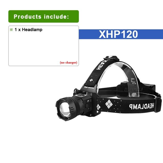 XHP120 LED Headlamp Rechargeable Headlight Flashlight Torch Outdoor Lamp Lights