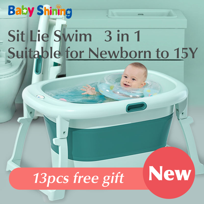 Baby Shining Bath Tub Bed 0-15Y Swim Plastic Portable Folding Home Bath Large Thick Widen Heat Preservation Children Bath Bucket title=