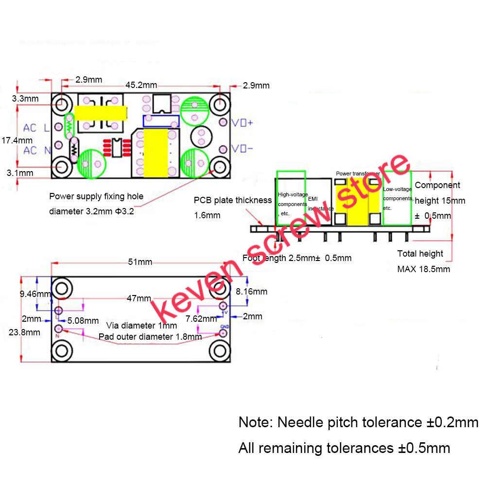 1PCS 녹색 AC-DC 정밀 벅 컨버터 AC 220V ~ 3.3V 5V 9V 12V 15V 24V DC 스텝 다운 변압기 스위치 전원 공급 장치 모듈