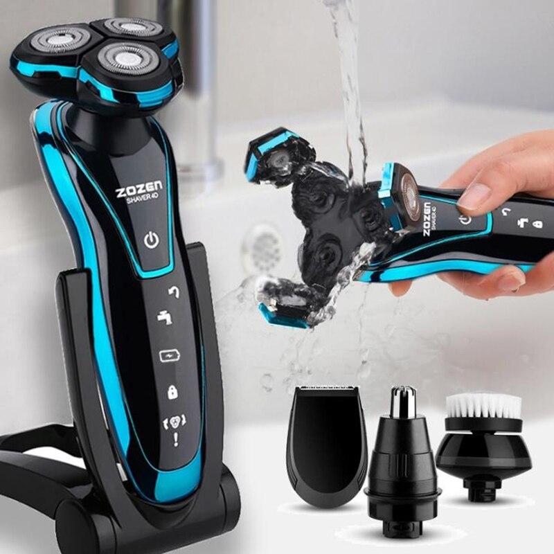 Nouveau rasoir électrique Rechargeable tondeuse à barbe électrique Machine à raser pour hommes barbe rasoir humide-sec double usage lavable
