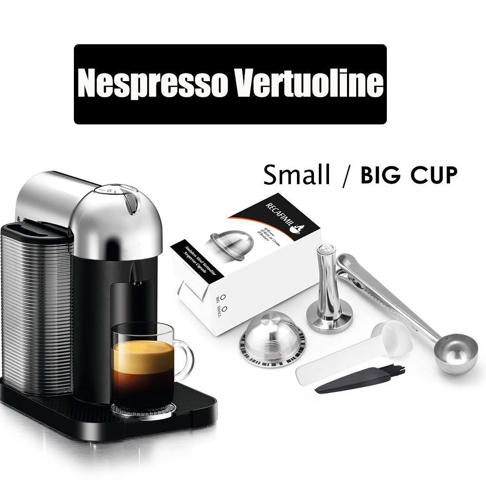 Reusable Coffee Capsule Pod Compatible For Nespresso Vertuoline Plus & Delonghi ENV150 Refillable Stainless Steel Coffee Filter