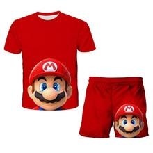 2021 verão crianças meninos roupas super mario terno camiseta dos desenhos animados shorts meninas roupa terno crianças conjunto de 4 -14 ano