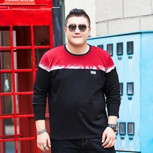 Spring and autumn new mens big size long sleeved stitching T shirt  plus size loose bottoming shirt tide cotton 140 kg