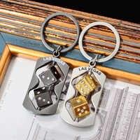 Vicney Newest Trendy Two Color Dice Las Vegas Keychain Punk Car Bag Silver Key chain Men Jewelry Gifts Portable Keyfob Keyrings
