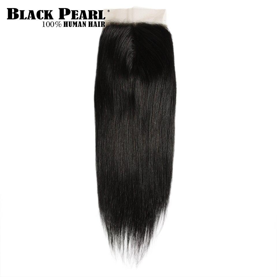 Siyah inci 5*6 dantel kapatma T parça 100% malezya düz % 100% Remy İnsan saç kapatma ile bebek saç 10-20 inç doğal renk