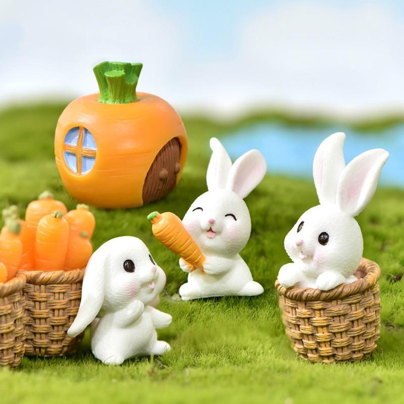 Cartoon Rabbit Carrot  Miniature Fairy Garden Accessory  Micro Landscape Cacti Deocration Handmade Craft Gift Pendant