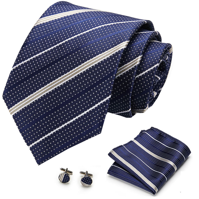 8cm Wideth Tie  Wedding Men Neck Ties  Men Brand Luxury Necktie Pocket Square Silk Tie Set Cufflinks Handkerchief