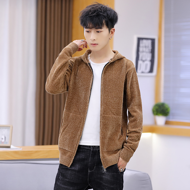 Winter New Cardigan Men Fashion Solid Color Casual Hooded Sweater Man Streetwear Wild Loose Warm Zipper Sweater Male Clothes