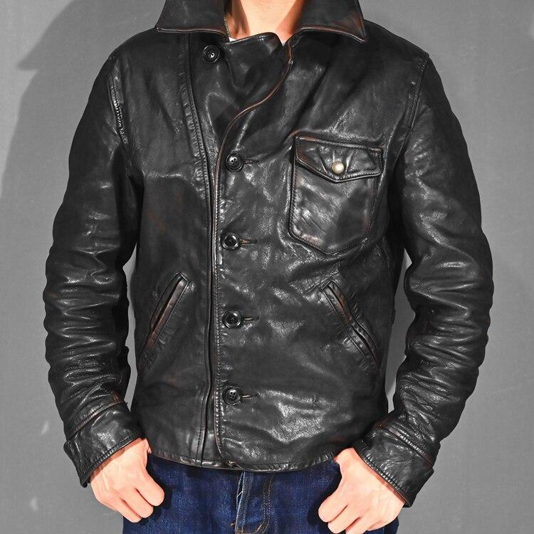 YR! Бесплатная доставка. 2020 винтажный чайный сердечник батик, куртка из кожи в стиле кэжуал США, мужское тонкое пальто из натуральной кожи, Кожаные куртки      АлиЭкспресс