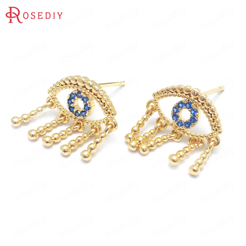 (37670)6PCS Height 15MM 24K Gold Color Brass And Zircon Cry Eyes Stud Earrings Pins Jewelry Making Supplies Diy Accessories