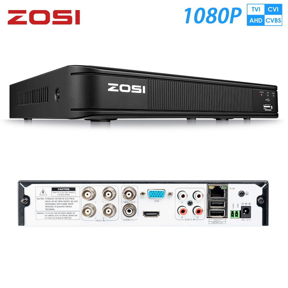 ZOSI 1080P 4CH TVI DVR AHD CVI TVI CVBS DVR 1920*1080 2MP CCTV Video Recorder Hybrid DVR Videcam Security System
