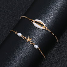 2Pcs/Set Simple Metal shell Anklets Summer Beach Female Jewelry 2019 New Imitation pearls starfish Charm Foot Bracelets