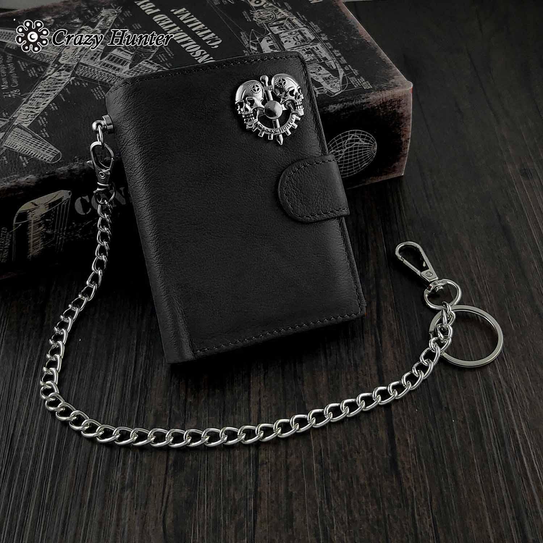 Degli uomini del Cuoio Genuino Snap Carta/Denaro Skull Biker Portafoglio con Cassetta di Sicurezza Della Catena chiave