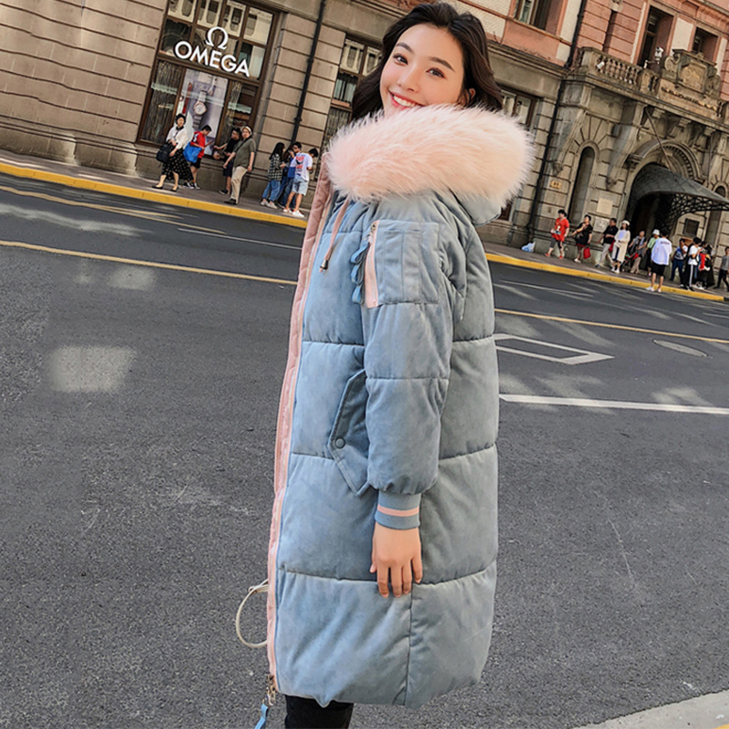 2019 High Quality Winter Jacket Women Velvet Fabric Hooded Thicken Fur Female Coat Long Outwear Warm Ladies   Parka