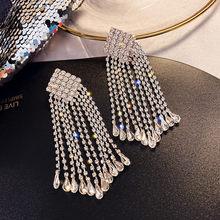 FYUAN-pendientes largos con borlas y diamantes de imitación para mujer, aretes colgantes de cristal geométricos brillantes, regalos de joyería