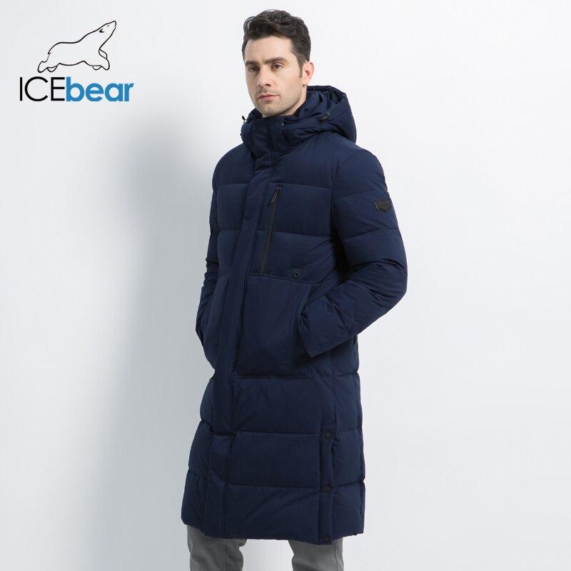 ICEbear2019 Новые мужские зимние куртки Длинные мужские пальто с молнией Куртка с капюшоном Мужское пальто высокого качества Мужская зимняя мар...