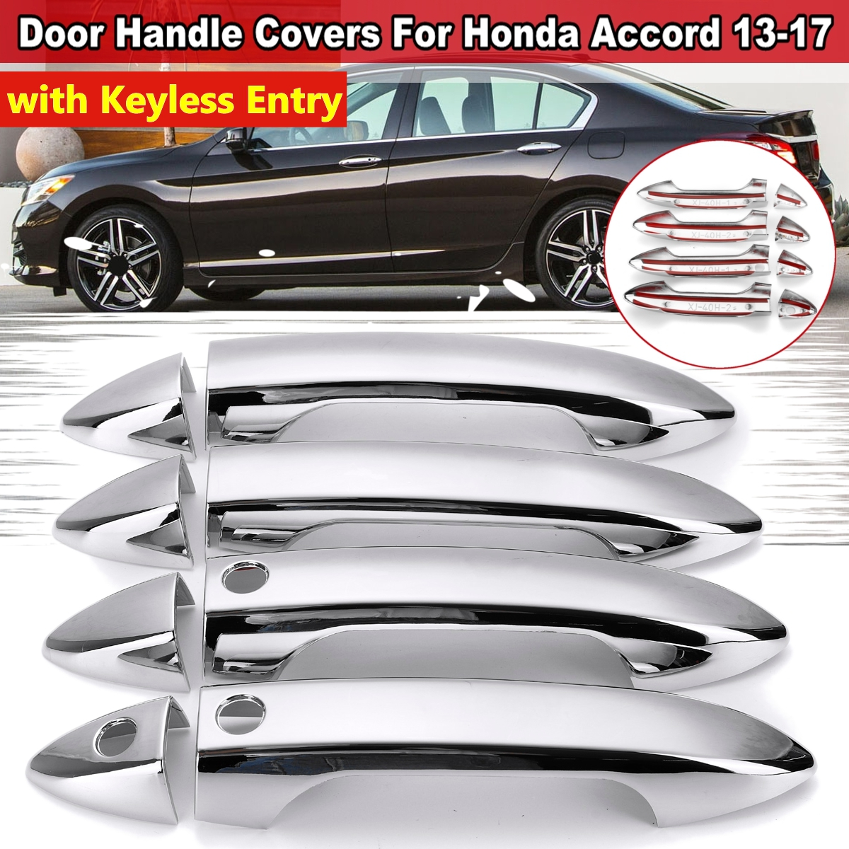 Car Door Handle Cover For <font><b>Honda</b></font> <font><b>Accord</b></font> MK9 2013 2014 2015 <font><b>2016</b></font> 2017 With Smart Key Hole Chrome Molding Trim Bezel <font><b>Accessories</b></font> image