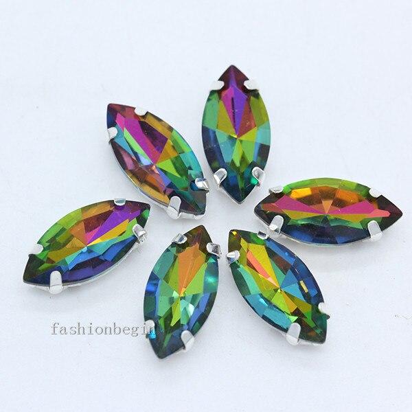 Всех размеров Наветт 24-цветное стекло камень с плоской задней частью, пришить с украшением в виде кристаллов Стразы драгоценные камни бисер с серебряной нитью, бледно-коготь кнопки для одежды аксессуары - Цвет: medium