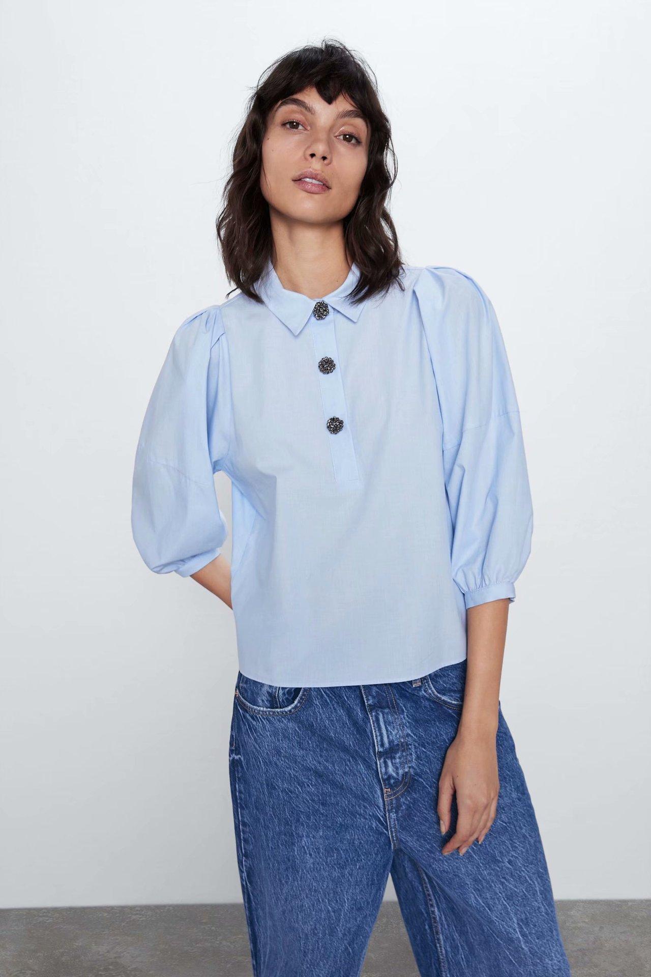 2020 New Spring Summer Cotton European Jewelry Button Streetwear Female Shirt Zaraing Vadiming Sheining Women Shirt HJH2792