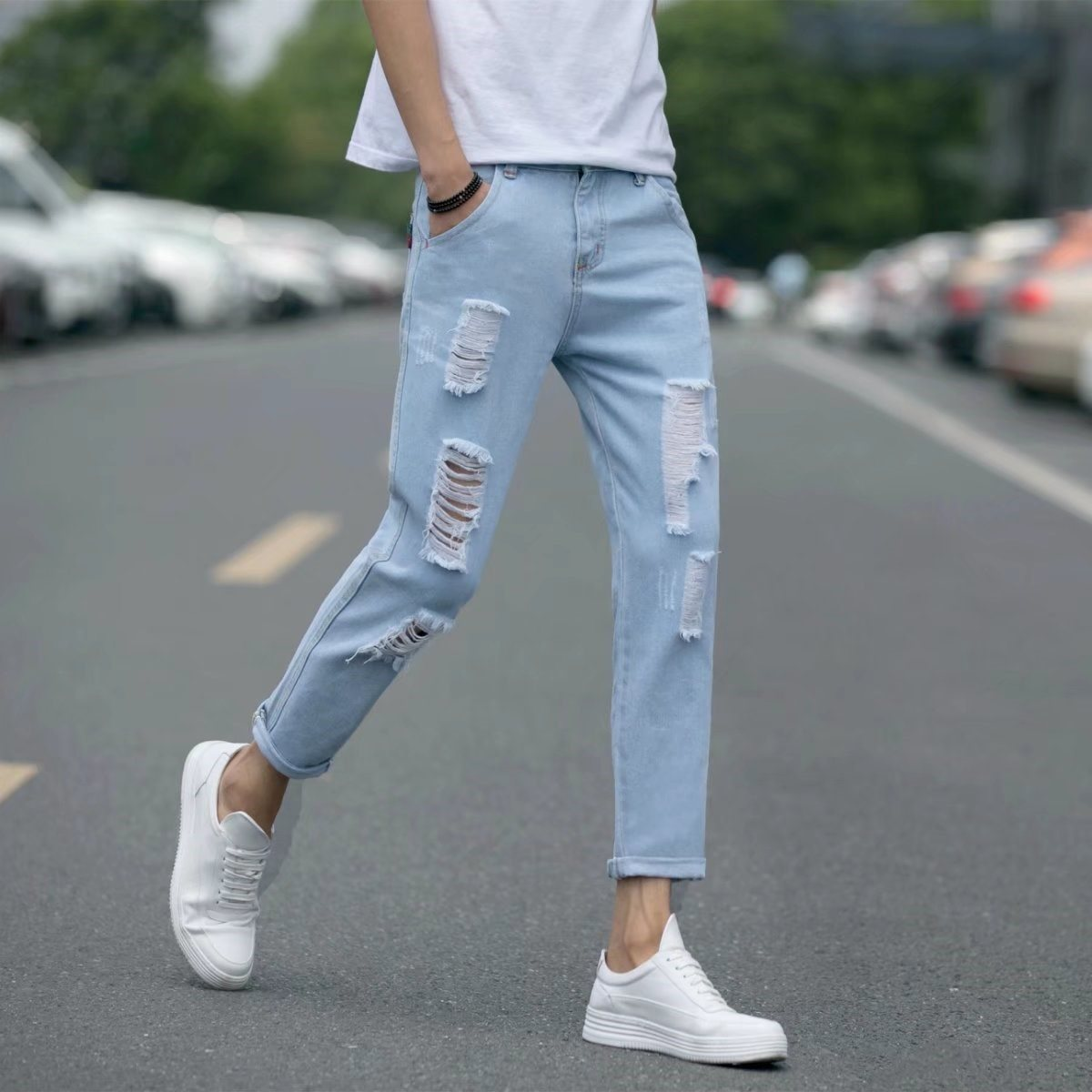 Spring And Summer Light Color Hole Jeans Men's Skinny Youth Ankle Banded Pants Students Capri Pants Vulnerability Light Blue Sm