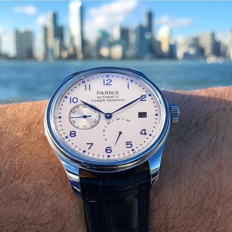 43 мм механические часы Для мужчин календарь Водонепроницаемый автоматические часы с автоподзаводом черный, серебристый цвет Gifrs для Для му...