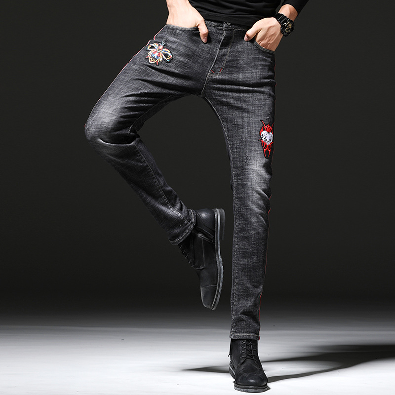 2019 AUTUMN Winter Men's Skinny Ripped Embroidered Stretch Jeans Trendy Holes Straight Denim Trouers