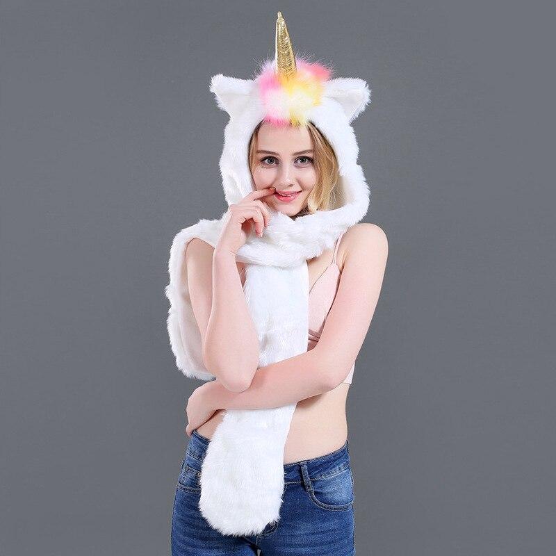 Fur Plush Unicorn Hat Imitation Fur Cartoon Hat Animal Hat Scarf Gloves One