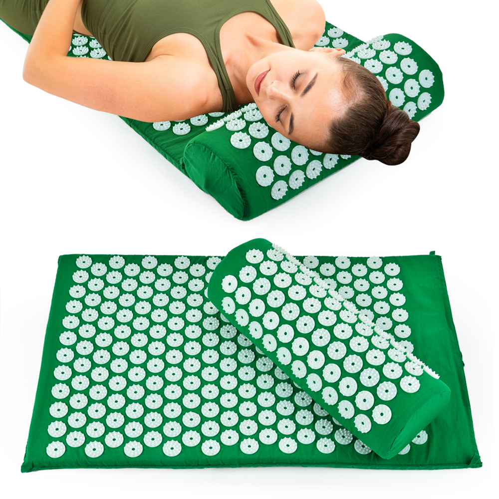 Acupressure Massager Cushion Massage Yoga Mat Relieve Body Stress Back Pain Acupuncture Massage Spike Mat Yoga Mat with Pillow|Massage Cushion|   - AliExpress
