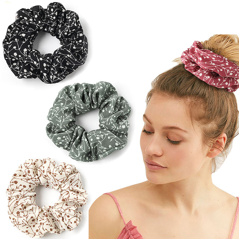 Bellflower Small Flower Hair Ties Chiffon Scrunchies Women Elastic Hair Bands Vintage Hair Accessories Ponytail Holder Headwear