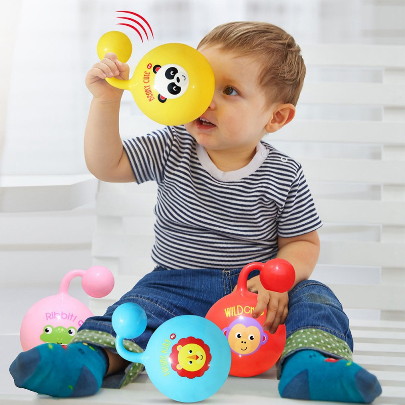 Baby Rattle Ball Toys With Sound Cartoon Animal Educational Toys For Newborns Mobile Hand Grasp Soft Balls