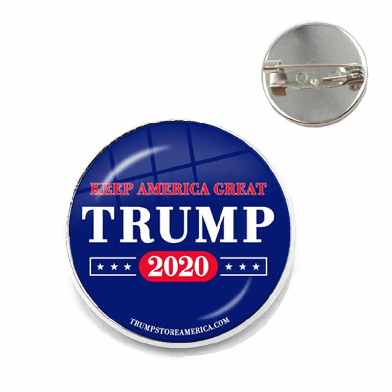 Le donne Per Trump 2020 Americano USA Elettorale di Vetro Cabochon Spilla 3D Stampe di moda Collare Spilli Dei Monili Per Le Donne Degli Uomini Regalo Dei Capretti