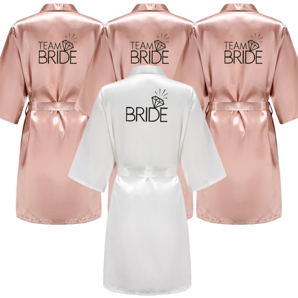 Wedding Party Team Bride Robe With Black Letters Kimono Satin Pajamas Bridesmaid Rose Gold Pink Bathrobe