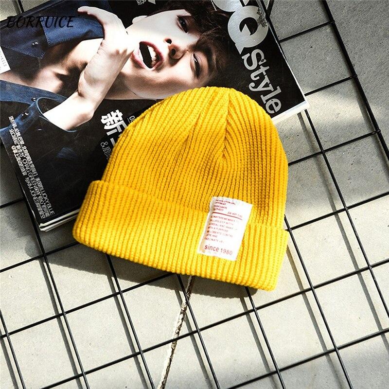 Womens Winter Slouchy Beanie Hats Warm Fleece Printed Label Cuffed Cap Korean Version Of The Set Of Cute Wool Hat Yellow