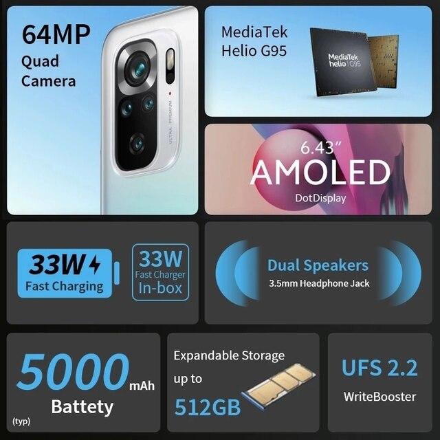 Global Version Xiaomi Redmi Note 10S 6GB 64GB/128GB Smartphone 10 S 64MP Quad Camera Helio G95 AMOLED DotDisplay 33W 5000mAh 4