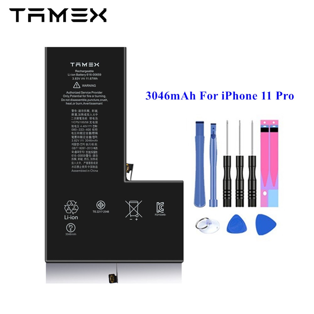 3046mAh For iPhone 11 Pro Battery Replacement IOS Smart Cellphone Batteries Certificate New Lithium Polymer Battery +Tools