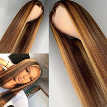 Miel Blonde perruques mettre en évidence brun Ombre synthétique cheveux perruque brésilienne droite dentelle avant synthétique cheveux perruques chapeaux