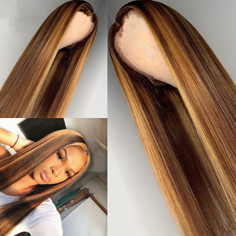Parrucche bionde miele evidenzia parrucca sintetica marrone Ombre parrucca brasiliana frontale in pizzo parrucche sintetiche copricapo
