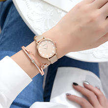 Часы женские кварцевые с кожаным ремешком простые наручные украшением