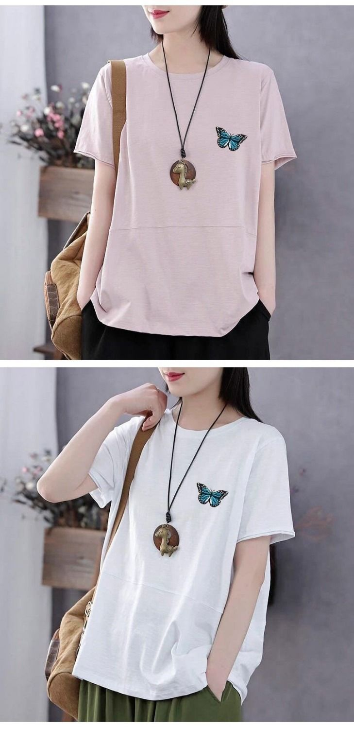 Hc146ce4ecf034d9eb6c612619d49feado - PEONFLY Fashion Spring Summer Women T Shirts O Neck Loose Long Sleeve Tee Embroidery Retro Harajuku Shirts Female Tops