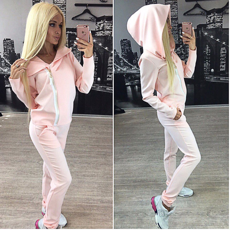 Quick-Drying Jogging Set Women Running Suit Together Ladies Sportswear Trainer Fitness Hooded Sweatshirt Long Pant Tracksuit