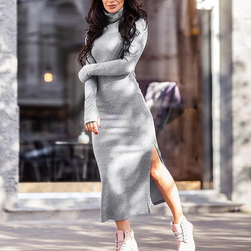 Side Split Turtleneck Knit Dress Women Elastic Slim Long Midi Dresses Woman Autumn Long Sleeve Casual Female Clothes for Girl