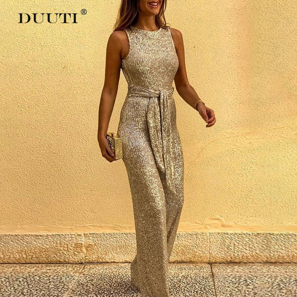 Elegant Backless Sequins Jumpsuit Women Fashion Wide Leg Party Rompers Gold Sexy Belt Playsuit For Ladies Club D30