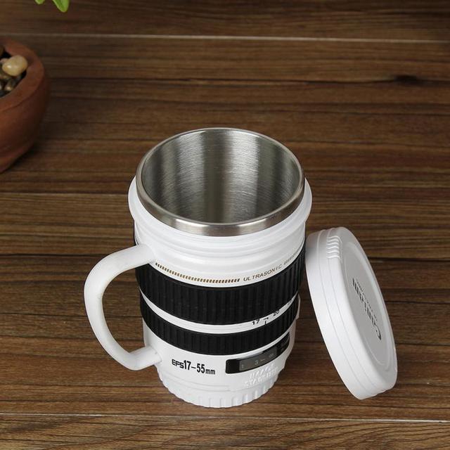 Creative Drinkware Cute Cup Stainless Steel Camera Lens Shaped Mugs Coffee Mugs Tea Cup Travel Vacuum Flasks With Lid Gift 4