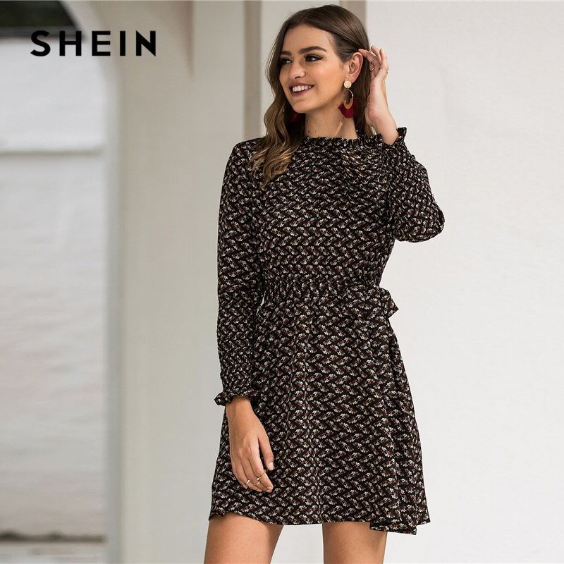 SHEIN Stand Collar Ditsy Floral Print Elegant Dress With Belt Women 2020 Spring Flounce Sleeve Ladies A Line Short Frill Dresses 5
