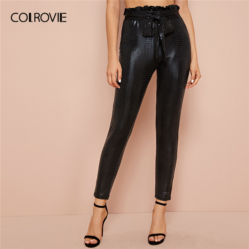 COLROVIE Black Paperbag Waist Crocodile Embossed Pants Women High Waist Trousers 2019 Autumn Solid Skinny Glamorous Pants