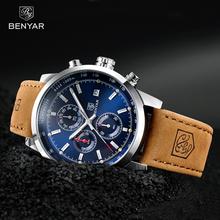 BENYAR zegarki mężczyźni luksusowej marki zegarek kwarcowy moda chronograf Reloj Hombre zegarek sportowy mężczyzna godzina Relogio Masculino 2020 tanie tanio 22cm Moda casual QUARTZ 3Bar Sprzączka CN (pochodzenie) STOP 16mm Hardlex Kwarcowe zegarki Papier Skórzane 43mm BY-5102M
