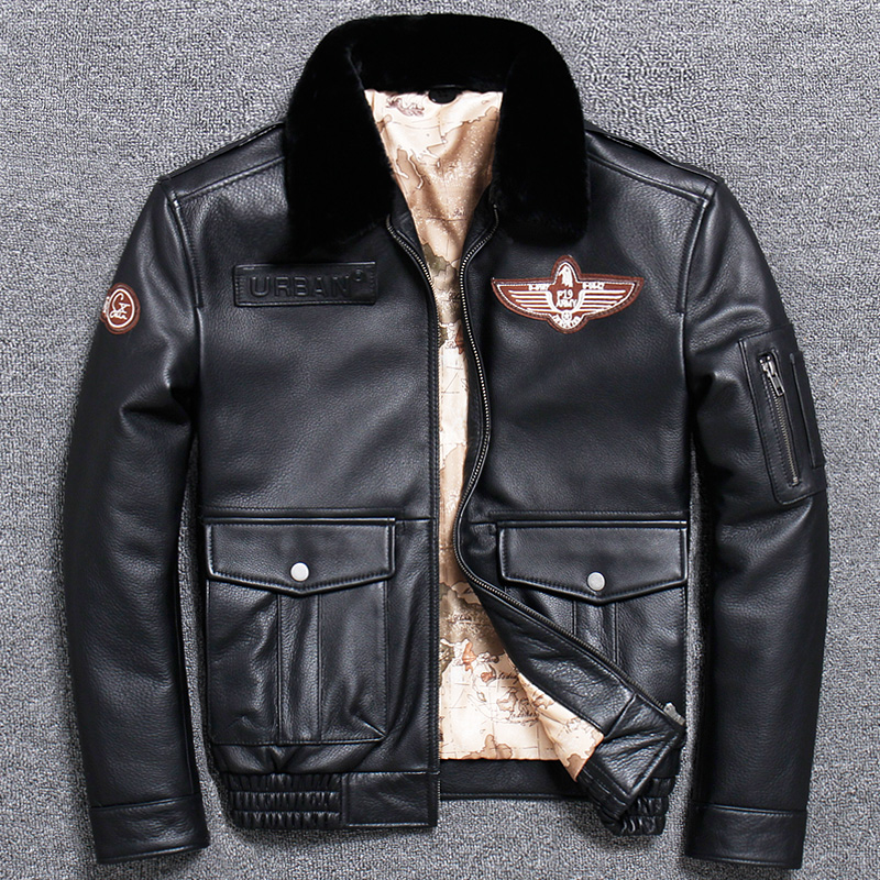 Free shipping Brand new winter warm Classic G1 style mens leather jacket vintage cowhide Jackets man Brand new winter warm.Classic G1 style mens leather jacket,vintage cowhide Jackets,man genuine leather coat