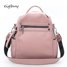 купить Bag Female Travel Bags Mochila Black Soft Leather Backpack Women Multi-function Shoulder Bag Teenage Girls School Bag Bagpack дешево