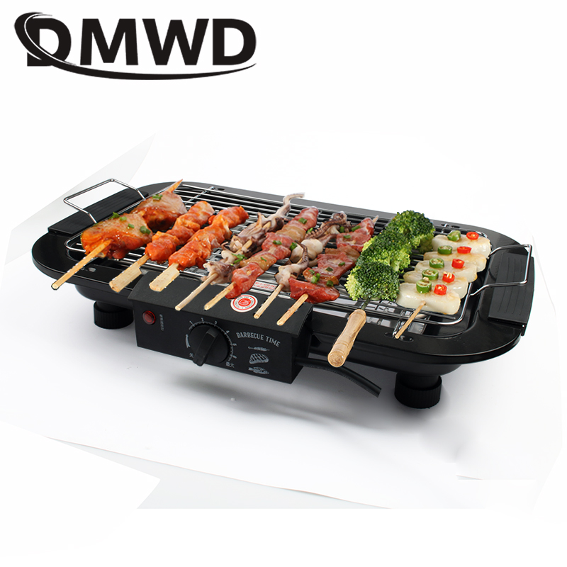 DMWD Electric Heating Barbecue Grill Oven Smokeless Indoor Carbon Free Meat Kebab Roaster BBQ Pan Hotplate Griddle EU US Plug